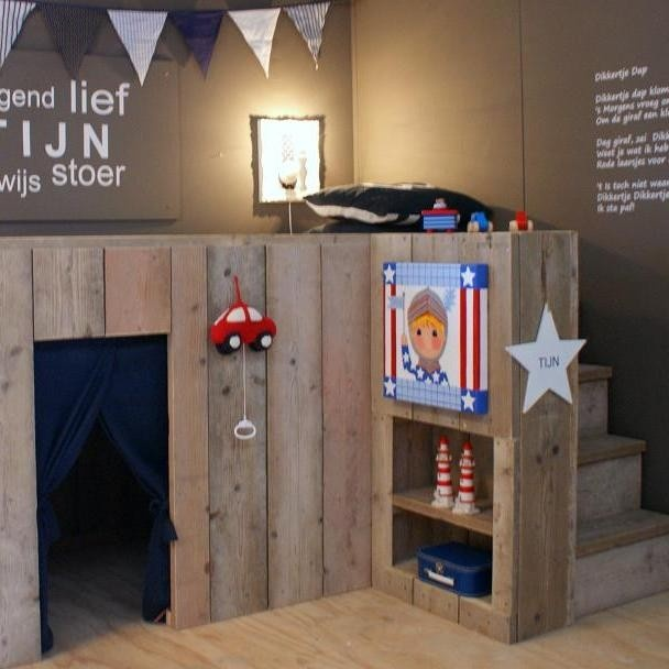 The mini loft bed.it would go with a rustic style for a boys room, or add  some girlie fun touches for girls!