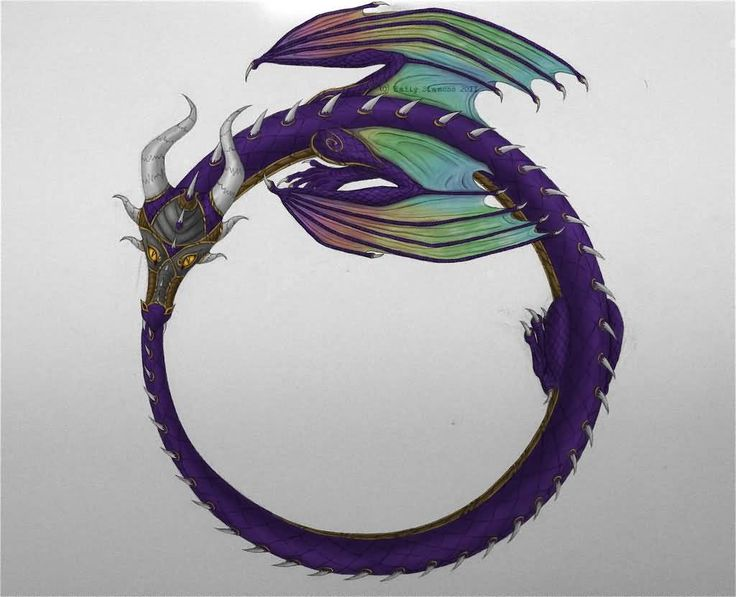 Colorful Dragon Ouroboros Tattoo Design by Snoopy The Strange