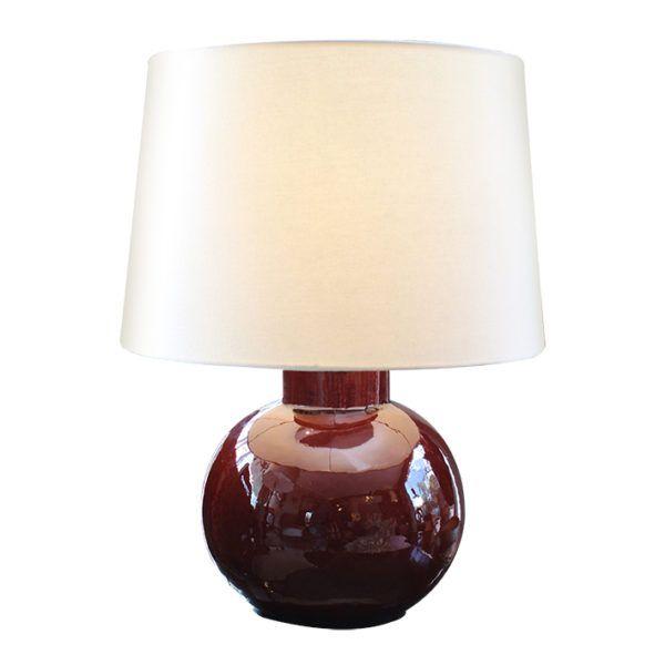 Lámpara Vintage Italiana    Lámpara de mesa italiana de cerámica pintada en rojo, redonda y esmaltada.
