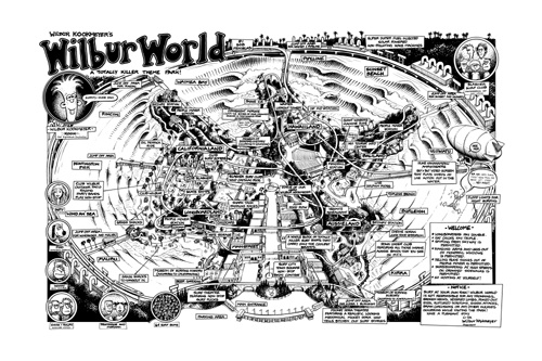 Surf Art: This high quality art poster print from Bob Penuelas's titled Wilbur World Theme Park is now available from Bob Penuelas's art portfolio collection. This image originally appeared in SURFER MAGAZINE, January 1989, Volume 30-Issue #1.