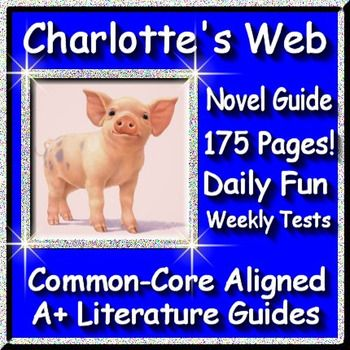 Free up your time with Charlotte's Web, a 175 page common-core aligned novel study guide for the novel by E. B. White. This teacher's unit has everything that you will need to teach and assess the novel including chapter questions and answers, weekly quizzes and final test, interactive activities, writing assignments, and much much more! The calendar guide explains the skills and activities for the day, assessments for the week, and the final test is Common Core aligned.