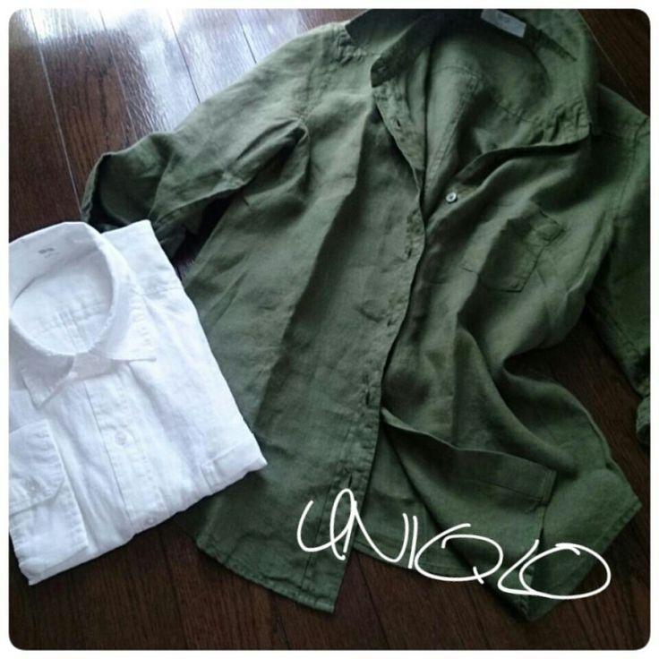 ユニクロリネンシャツのグリーンを♪  ファッションと料理と家事日和