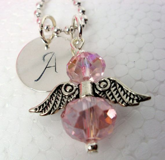 Personalized Crystal Angel Necklace Crystal by CharmAccents, $18.00