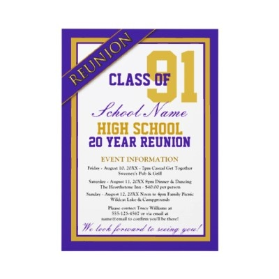 Classy Formal High School Reunion Invitations - Great class reunion invitations you personalize with all your celebration details for your big reunion event.