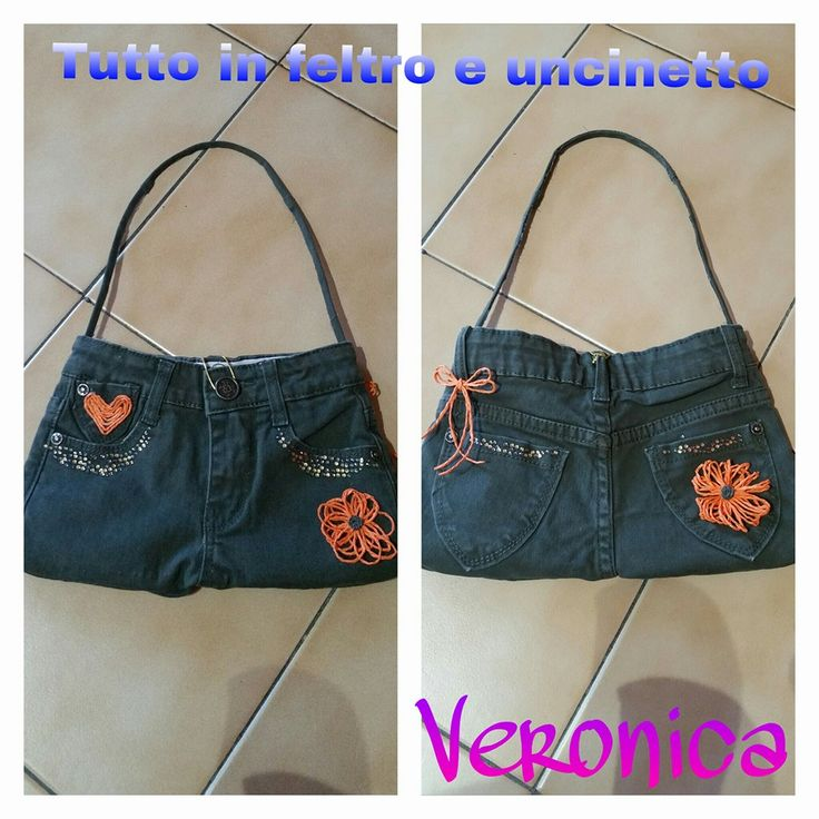 made by https://m.facebook.com/Feltro.uncinetto/ #madeinfacebook #lemaddine #handmade #handcrafted #craft #picoftheday #cool #cute #recycle #handmadewithlove  #jeans #bag