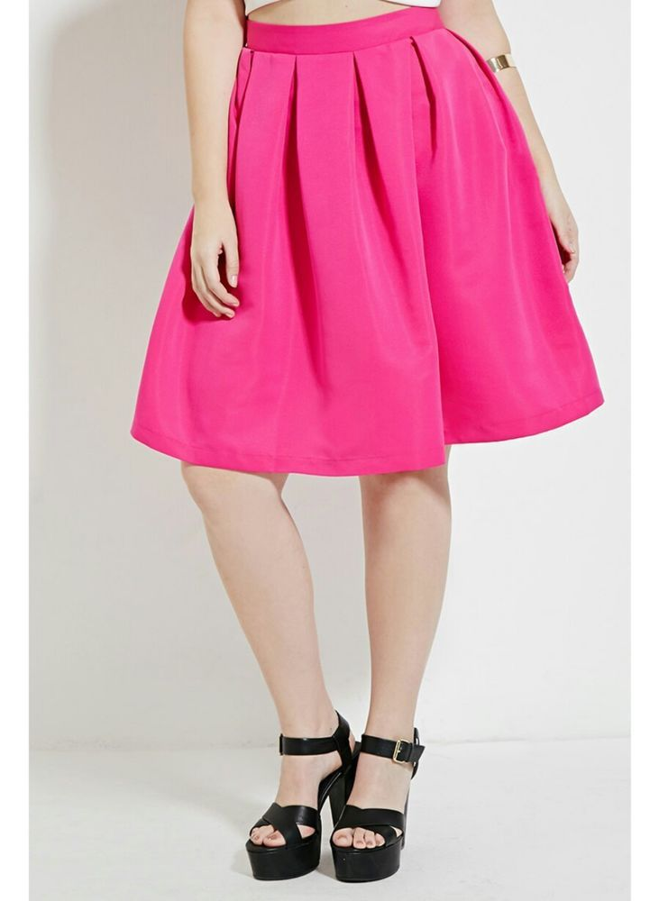 b977f2d7eeb Forever 21 Plus Size Pleated Skirt Fuschia Hot Pink Size 2X  FOREVER21   Pleated