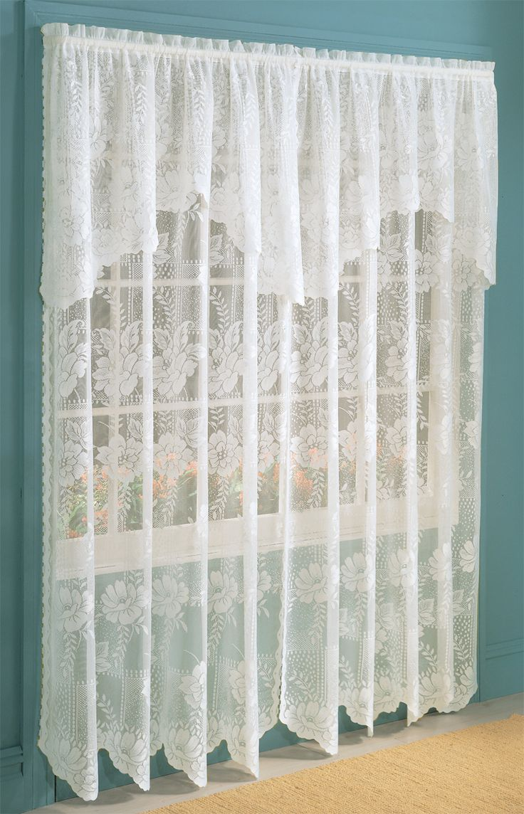 Vintage curtains lace white panels drapes window coverings floral - Find This Pin And More On Lace Curtains Anna Lace Curtain Panel