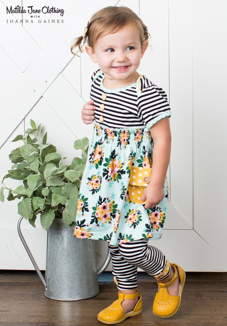 Matilda Jane with Joanna Gaines: Cotton Stem Dress with Diaper Cover and Duckling Leggings