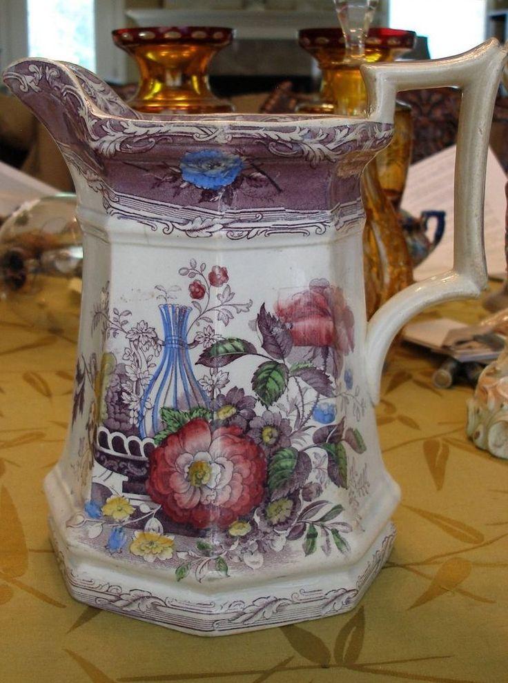 "Antique Ironstone Excelsior large octagonal pitcher purple 9"" high #Floral #Wooliscroft"