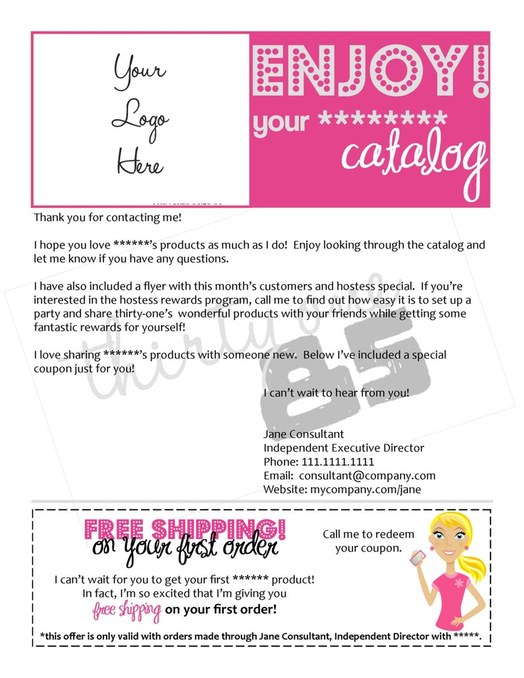 Direct Sales Independent Consultant Catalog Letter. $15.00, via Etsy.