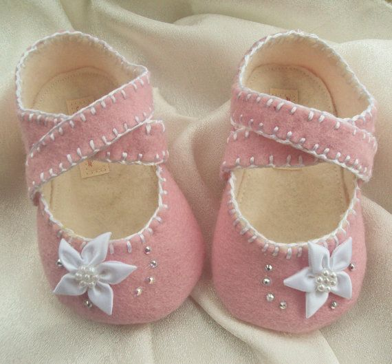 Baby Girl Shoes Pink Wool Felt by BronteShoes on Etsy, $30.00