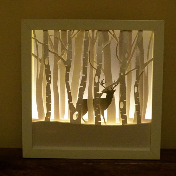 Winter Stag Framed Night light by craftylittlefoxshops on Etsy
