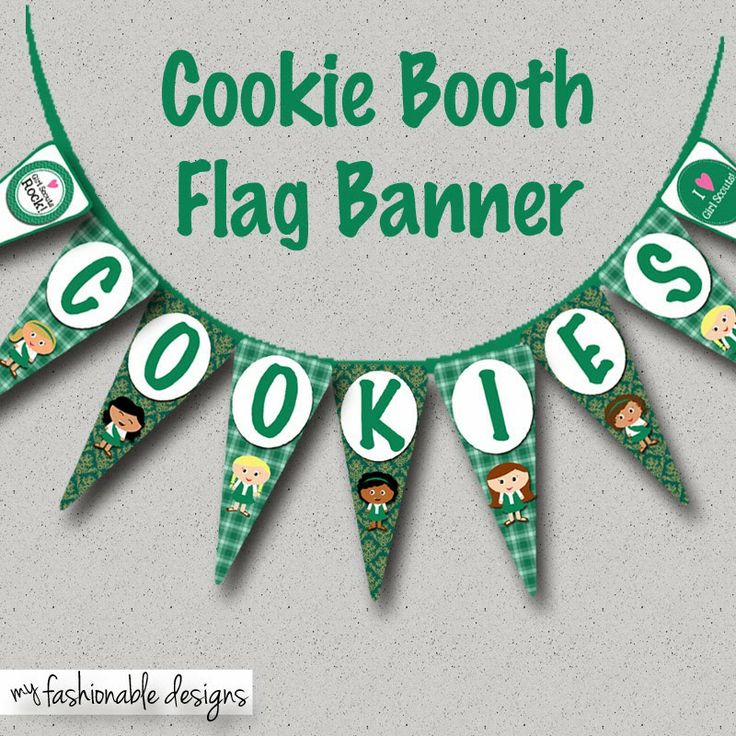 Girl Scouts Color Cookie Booth Flag Banner: Free download; Girls can decorate their cookie booth with this flag banner to support their cookie program/sales