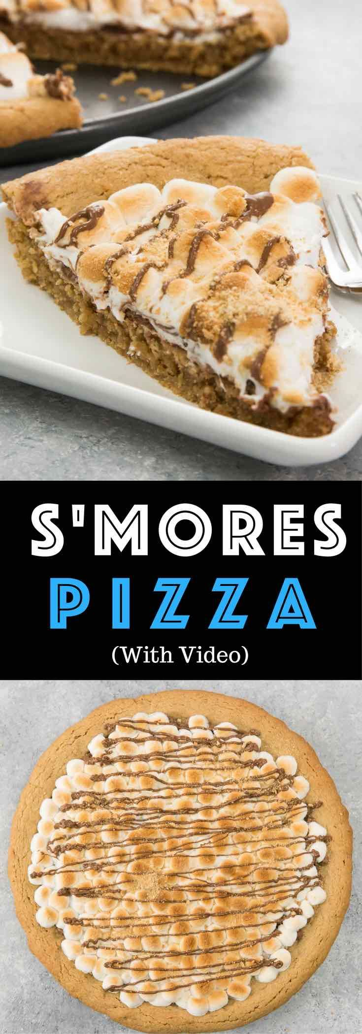 Soft & Gooey Loaded S'mores Pizza or S'mores Pie - flavored with crushed graham crackers cookie dough, and layered with marshmallow and sweet chocolate chips. Who needs a campfire? Bake this indoor rich, gooey S'mores cake instead! Loads of s'mores in every bite! So good! Quick and easy recipe. | Tipbuzz.com