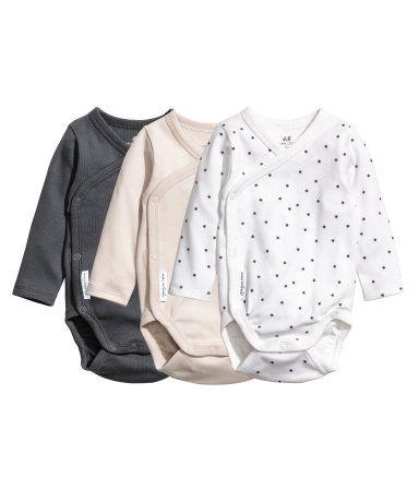 3-pak langærmede slå om-bodyer   Mørkegrå   Børn   H&M DK