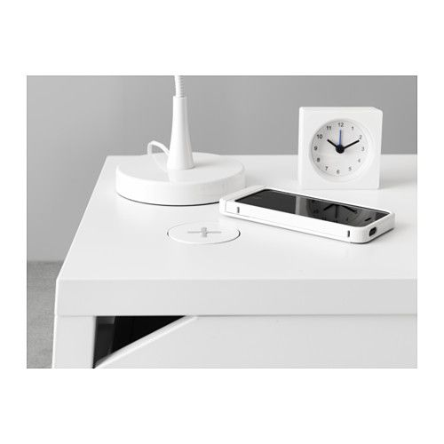 IKEA - SELJE, Nightstand with wireless charging, , You can easily charge your smartphone wirelessly. If your phone supports wireless charging, just place it on the charger. If not, complete the phone with VITAHULT wireless charging cover.You can charge two devices at the same time since the charger also has a USB port.