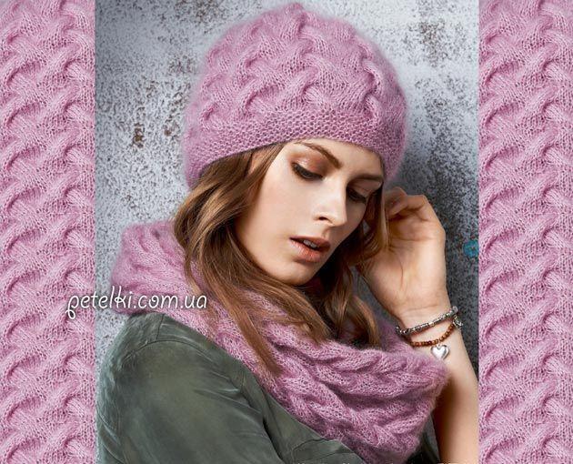 вязаная шапка спицами женская плетенка