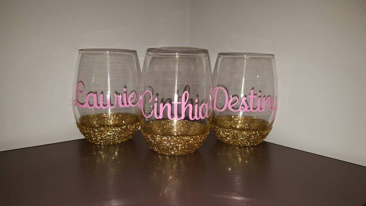 Bridesmaid Glittered Stemless Wedding Wine Glasses for Bridal Party; Wedding Present; Bachelorette Present; Bridal Shower Present; Gifts by ByJusteenCrafts on Etsy