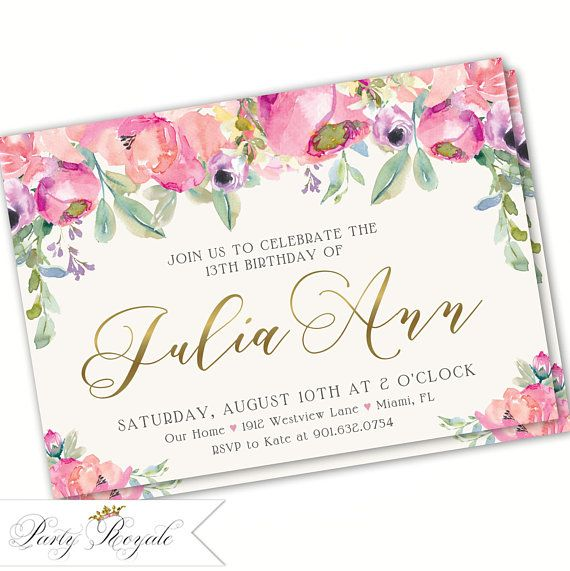 13th Birthday Invitation Teen Party Invitations Floral 14th 15th Invites For Teenage Girls Themed