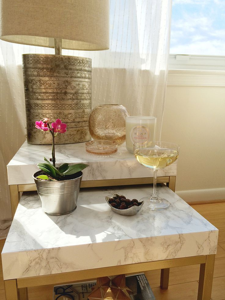 DIY nesting tables. Gold spray paint. Marble contact paper. DIY TABLE MAKEOVER — Splendor in Spanglish