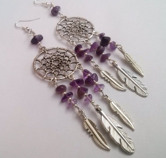 Hey, I found this really awesome Etsy listing at https://www.etsy.com/listing/210563497/amethyst-dreamcatcher-earrings-dream