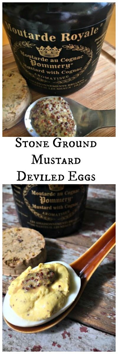 Take your party food game up a notch with the simple addition  Stone Ground Mustard Deviled Eggs. A good mustard makes all the difference in this recipe. via @LttlHouseBigAK