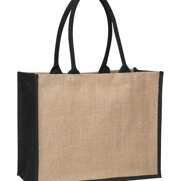 LAMINATED JUTE SUPERMARKET BAG WITH BLACK HANDLES AND GUSSETS – TB 0137 LJ (CONTRAST BLACK)  Price includes 1 color, 1 position print   2 Color imprint available for an additional charge