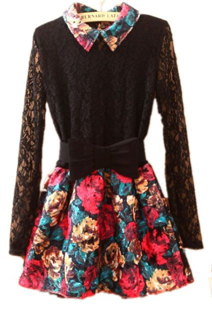Black Lapel Lace Long Sleeve Floral Dress