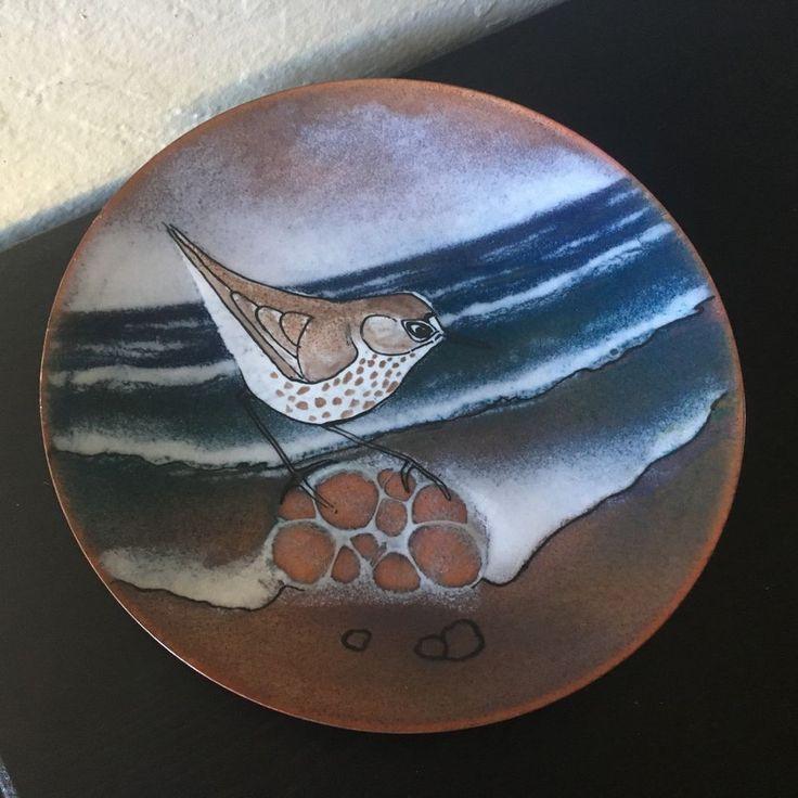 "Vintage BRUMM Sandpiper BIRD Shorebird ENAMEL on Copper PLATE Seashore SIGNED 7"""