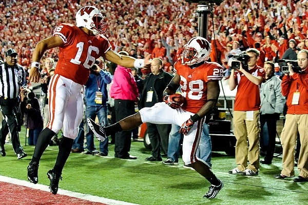 Russell Wilson and Montee Ball celebrate a TD.Alma Mater, Husband Alma, Ball Celebrities, Favorite Sports, Hometown Pride, Montee Ball, Russell Wilson, Fav Badger, Fave Athletic
