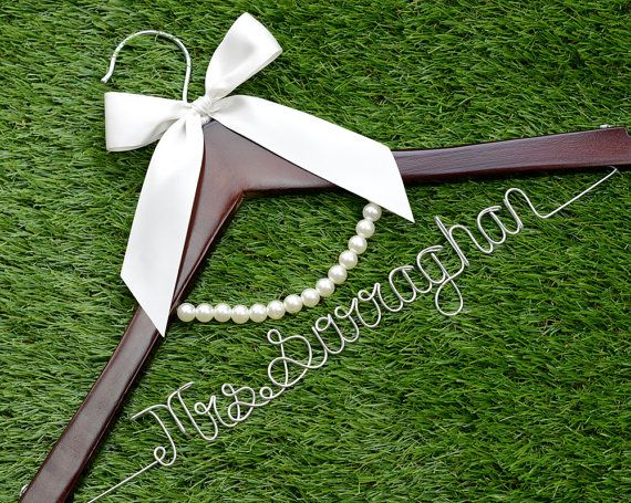 Wedding Hanger lace bow wire name Hanger  by haomaihanger on Etsy, $5.99