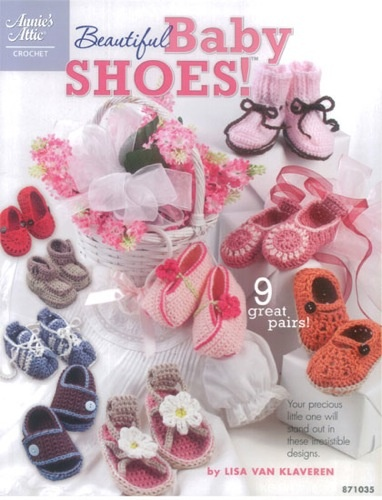 AA871035 Beautiful Baby Shoes- http://www.maggiescrochet.com/beautiful-baby-shoes-p-1556.html#.UVnPPFeNpZ0 #crochet #pattern #booties #baby #shoes