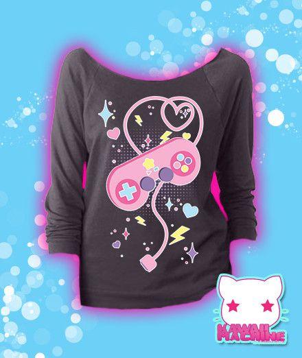 Player 1, Start! Retro Videogame Controller Graphic 3/4 Sleeve Sweatshirt Kawaii Fairy Kei Pastel Goth