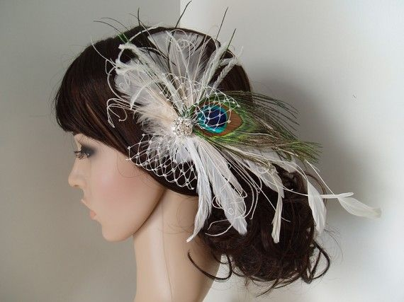 Ivory Feather Bridal Hair Clip Peacock Fascinator with Rhinestone Jewel $43 USD