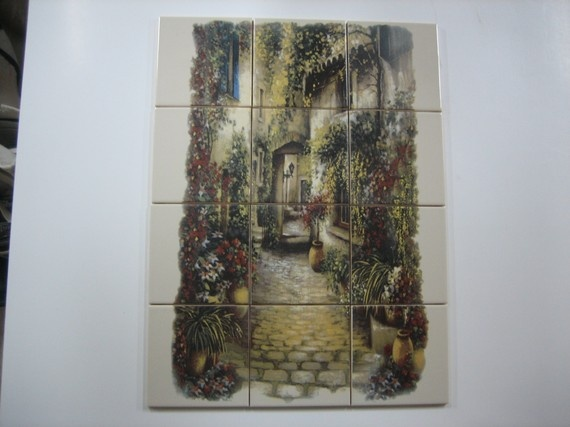 Ceramic tile mural with cobblestone italian by for Clay tile mural