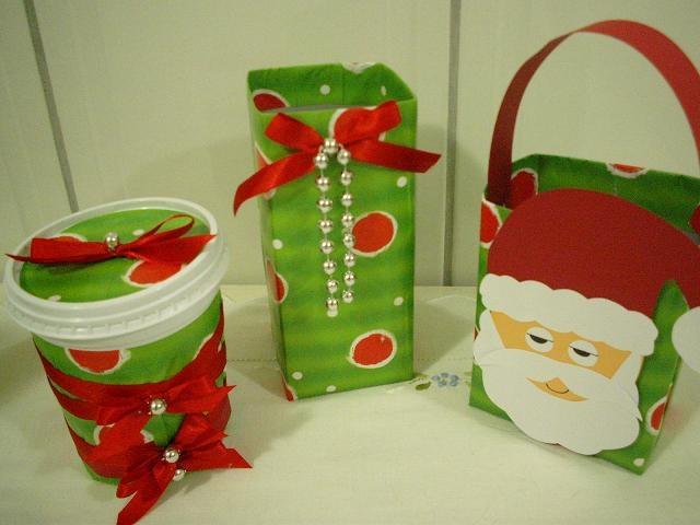 Embalagens de natal com caixa de leite - Pra Gente Miúda