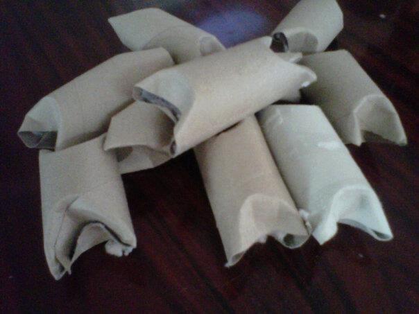 Fire Starter: dryer lint stuffed inside a toilet paper tube (add sage to deter bugs)