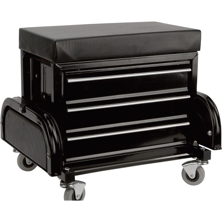 This Performance Tool Mechanic's Stool with Drawers has a padded seat that provides a comfortable place to sit during repairs. Includes 3 storage drawers and 2 magnetic trays to hold tools and spare parts.