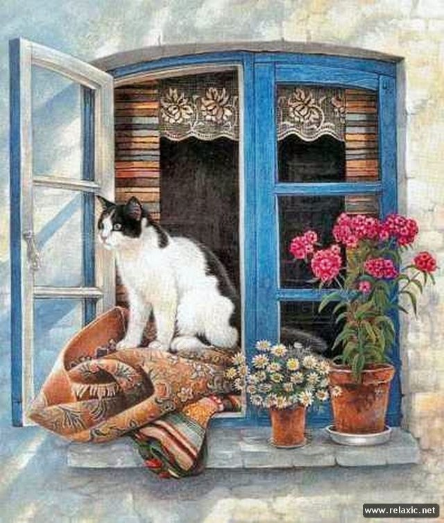 Картинка собачка на окошке