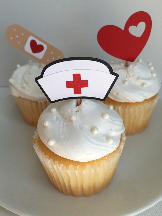 Nurse themed cupcake toppers made from cardstock. Set of 12.