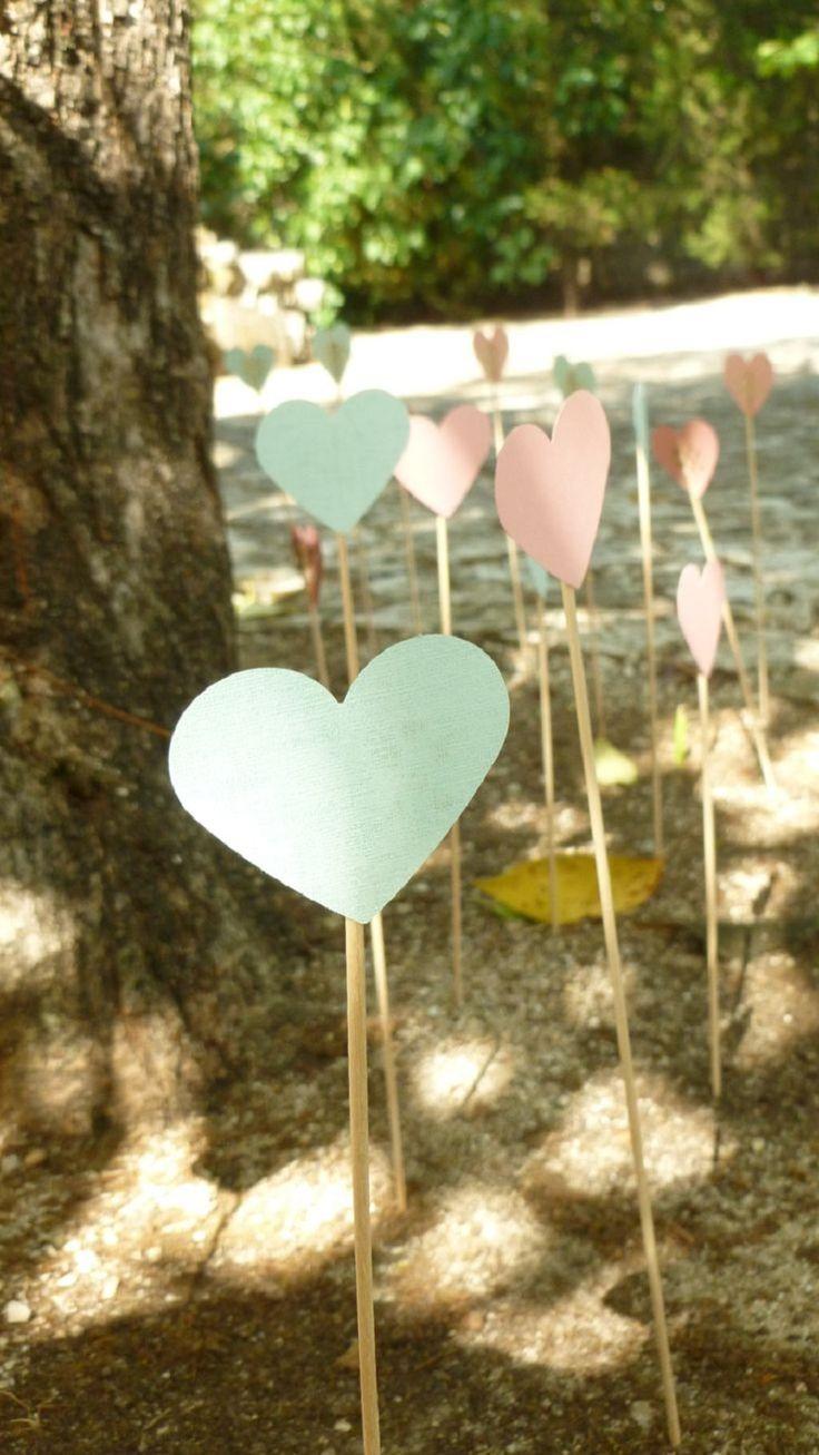 mint & pink hearts  ~  we ❤ this! moncheribridals.com #outdoorweddingdecor
