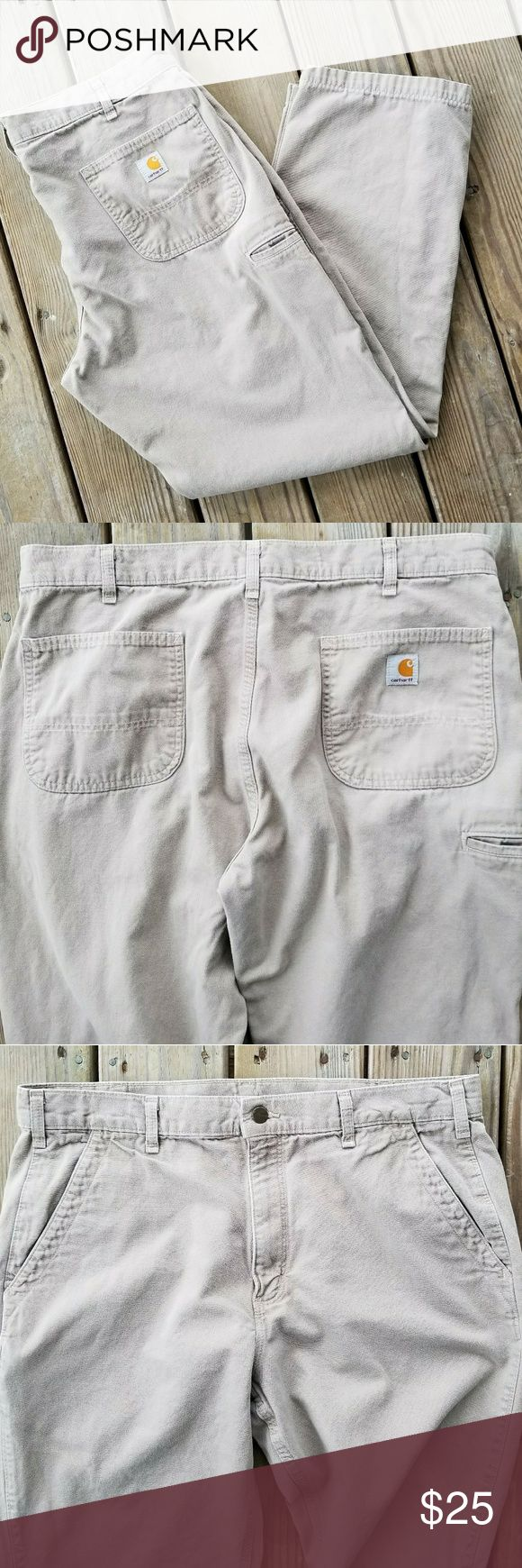 "Carhartt men's light khaki pants Carhartt light tan khaki pants. Sz 38 X 32. EUC. No damage, stains or holes. Minimal wear.  Inseam: 32"" Rise: 13"" Waist (of jeans): 19"" Ankle width: 9.5"" ***All Measurements are done flat and are approx.  ☆Smoke Free home  ☆Best offer Carhartt Pants"