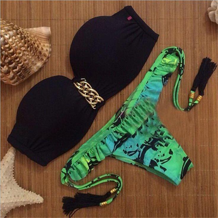 Aliexpress.com: Compre 2015 novas mulheres Swimwear Sexy Neoprene impresso Bikini Set Swimsuit Biquini maiô biquinis brasileiros de confiança biquini brasileiro fornecedores em Angell