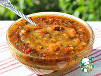 Мой любимый соус из свежих слив ингредиенты Слива (без косточек) — 3 кг Перец болгарский (крупный,красный) — 3 шт Перец красный жгучий — 3 шт Чеснок — 300 г Кинза — 1 пуч. Петрушка — 1 пуч. Базилик (зеленый) — 1 пуч.