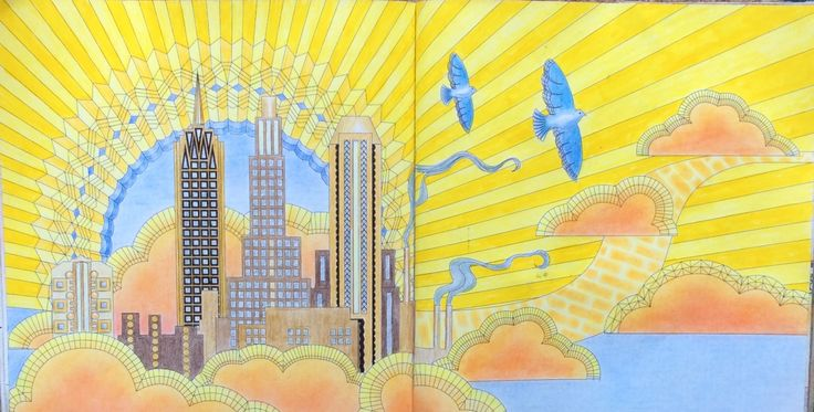 Dream Cities. High in the Clouds. Coloured by Prue.