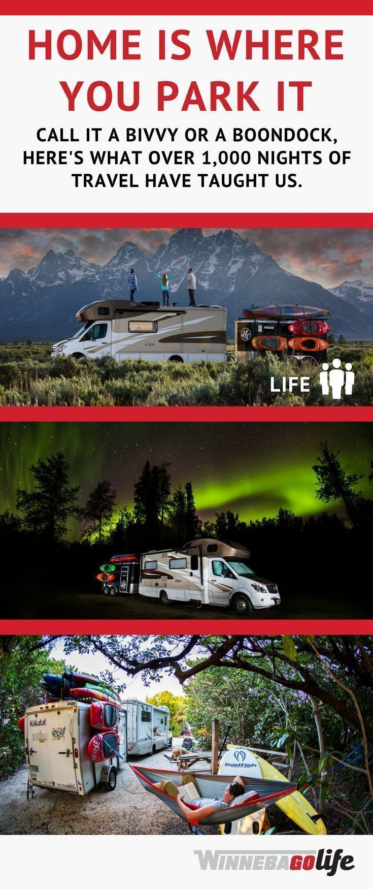 5 tips for finding free RV camping spots! This family has parked all over the U.S. in beautiful scenic spots for #free and share all their secrets and hacks for locating the spots and avoiding trouble. If you're taking an RV road trip on a budget this year, planning for RV life or currently are full-time RVing, this is a MUST read! You'll save money without sacrificing on location! #RVLife #RVLiving #RVHacks #RVFinancing #WinnebagoLife #Winnebago #RVing #RV #roadtrip #camping #rvfulltime