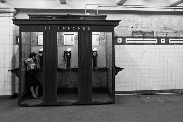 Phone booths in a Sydney railway station in 1970.