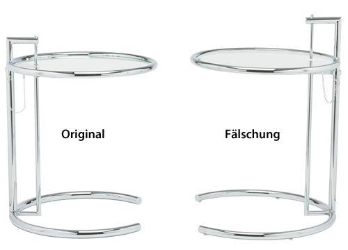 Adjustable Table E1027 Beistelltisch Entworfen Von Eileen Gray In  Gegenüberstellung: Links Das Original Design Von Images