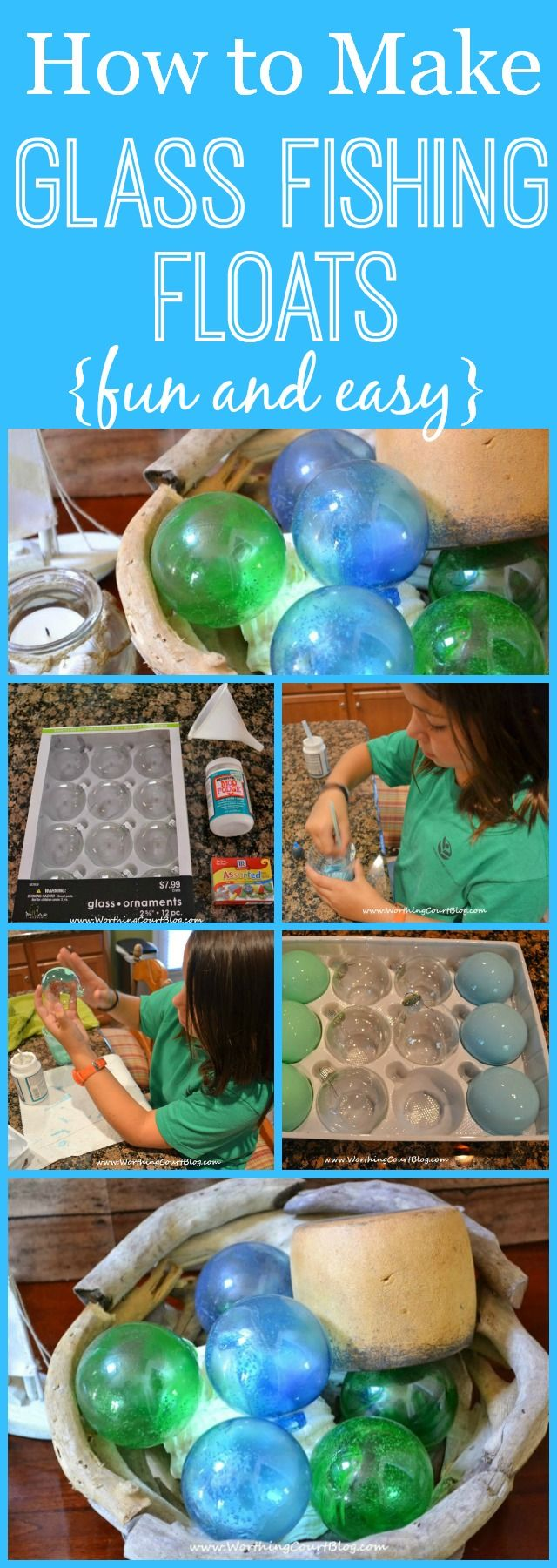 How to Make Glass Fishing Floats using Clear Christmas Ornaments - these would be great in a coastal beach - themed display - via Worthing Court Blog