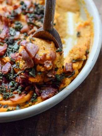 Bourbon Bacon Whipped Sweet Potatoes #recipe #thanksgiving #food @how sweet eats